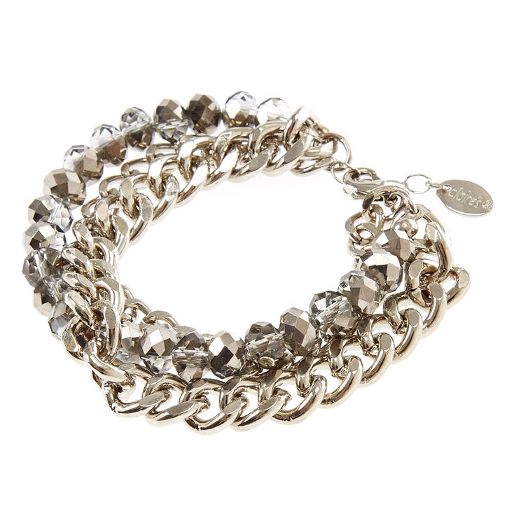 Silver Chrome Multi-Layer Chain Link Bracelet,