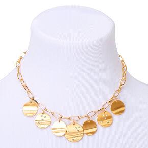 Gold Constellation Disc Statement Necklace,