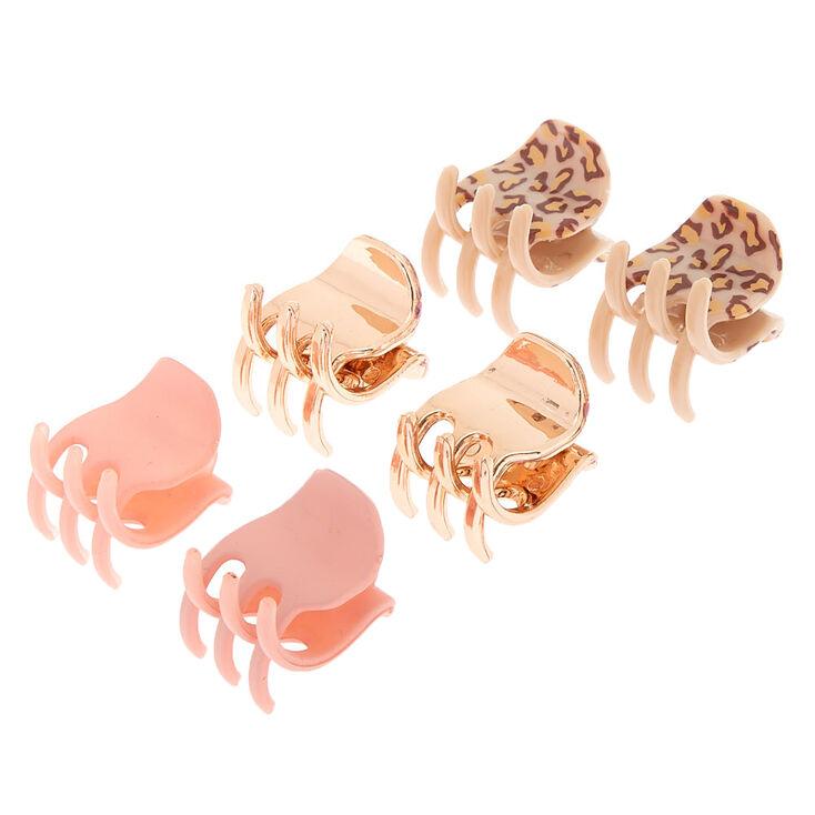 Rose Gold Leopard Print Mini Hair Claws - 6 Pack,