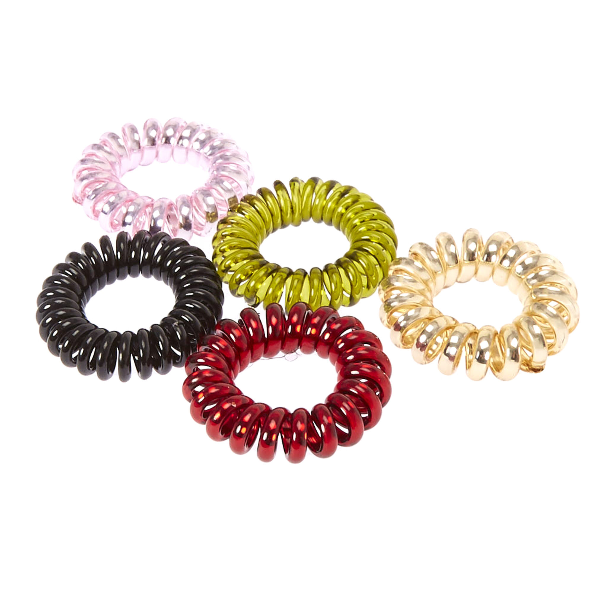 469cb8f10c41 Burgundy & Olive Metallic Coiled Hair Ties | Icing US