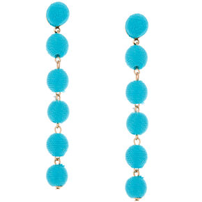 "3"" Thread Wrapped Ball Drop Earrings - Turquoise,"