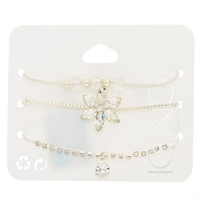 Silver Fancy Floral Statement Bracelets - 3 Pack,