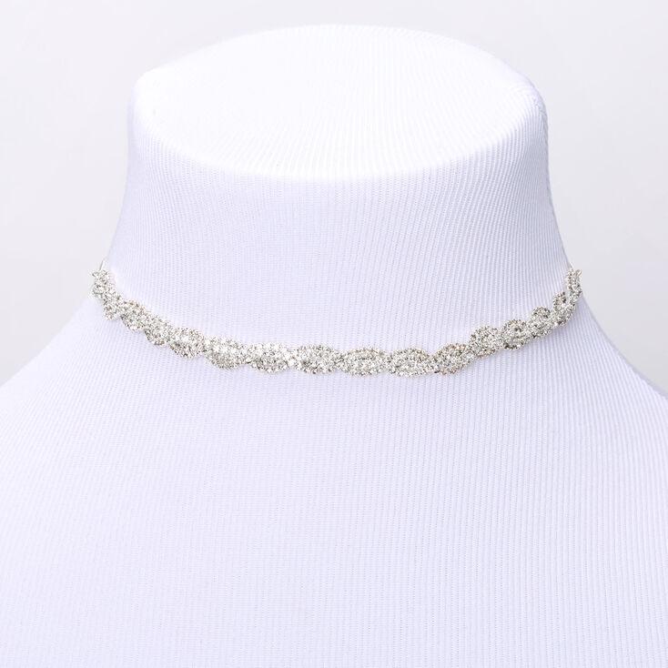 Silver Rhinestone Twisted Choker Necklace,