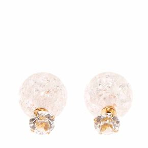 Clear Round Glass Stone & Pink Cracked Glass Ball Front & Back Earrings,
