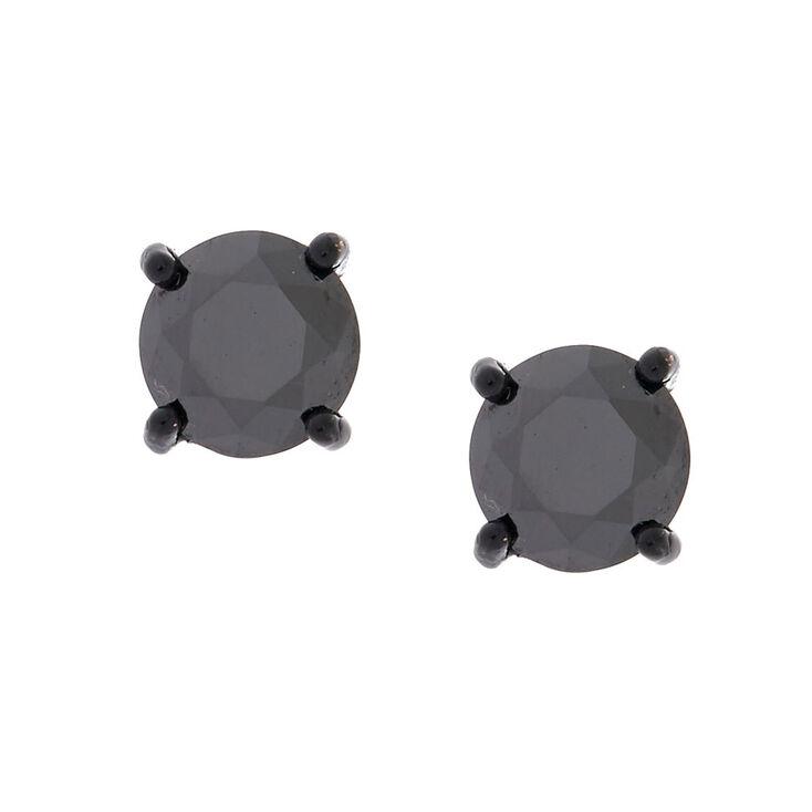 8MM Black Cubic Zirconia Magnetic Stud Earrings,