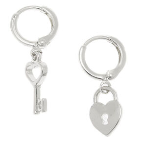 Silver 10MM Lock & Key Huggie Hoop Earrings,