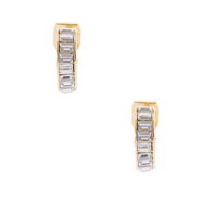 Gold 10MM Crystal Clip On Hoop Earrings,