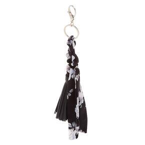 Braided Floral Tassel Keychain - Black,