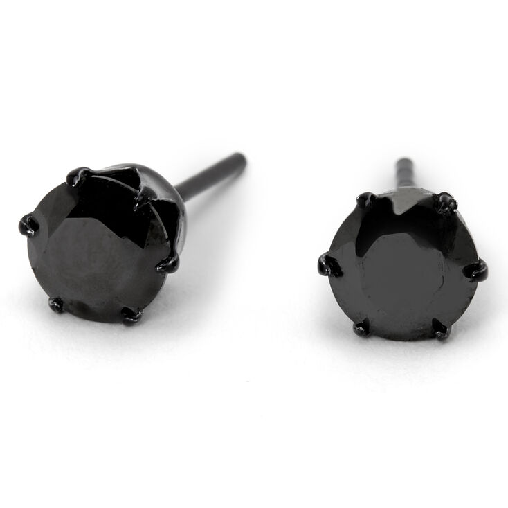 Sterling Silver Cubic Zirconia Round Stud Earrings - Black, 6MM,