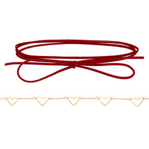 Gold Heart Choker Necklaces - Red, 2 Pack,