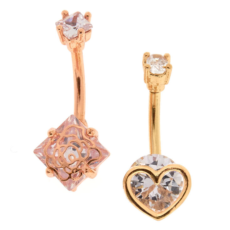 Caged Rose + Heart Mixed Metal Belly Rings,