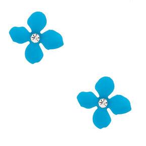 Silver Flower Stud Earrings - Turquoise,