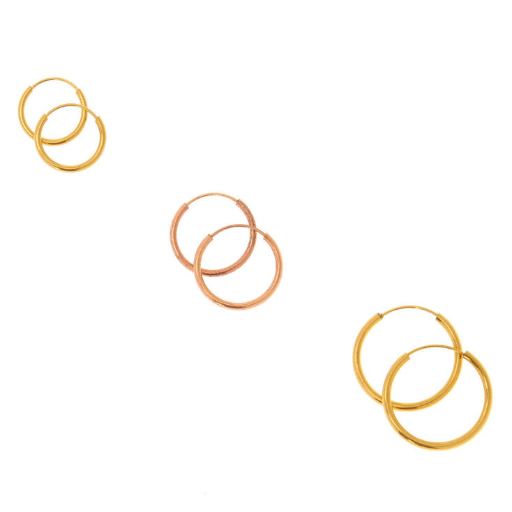 18kt Gold Plated Mixed Metal Hoop Earrings,
