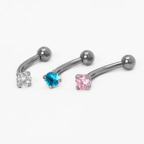 Silver Titanium Cubic Zirconia 16G Pastel Stone Rook Earrings - 3 Pack,