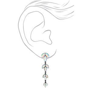 "2.5"" Graduated Crystal Drop Earrings,"