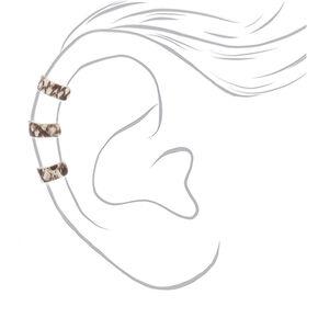 "Silver 1.5"" Snakeskin Print Ear Cuffs,"