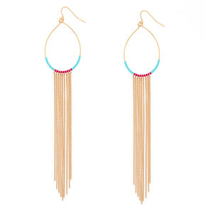 Gold Tassel Beaded Oval Drop Earrings,