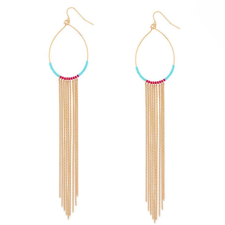 Gold Tassel Beaded Oval Drop Earrings,