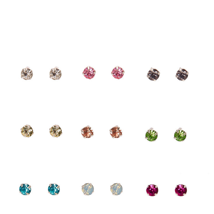 Silver Tone Framed Colored Crystal Stud Earrings,