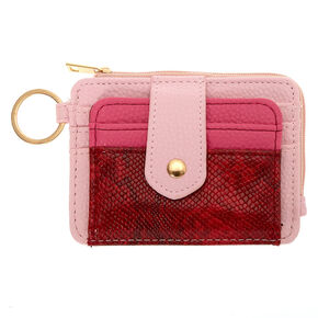 Red & Pink Snake Print Coin Purse,