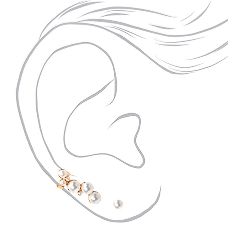 Gold Pearl Ear Crawler & Stud Earring Set,