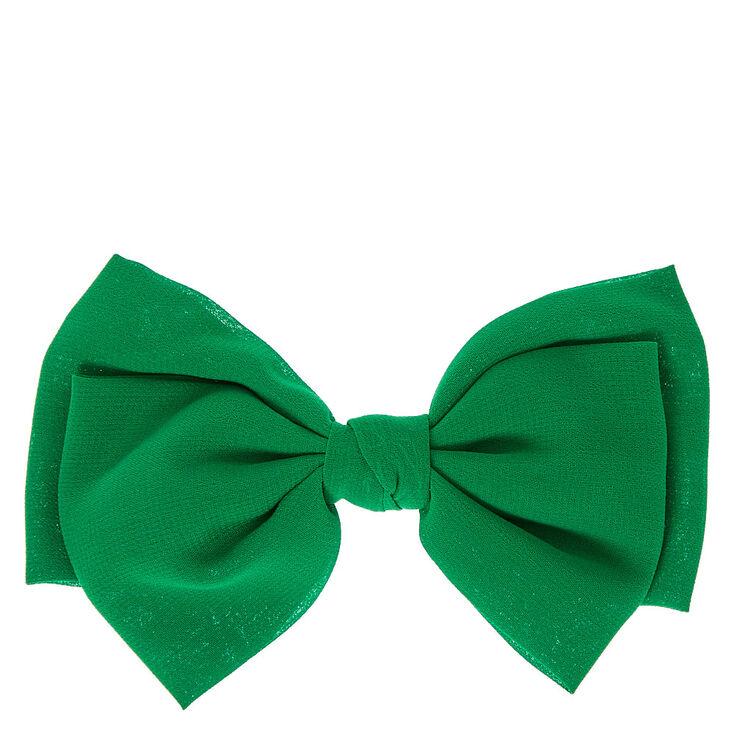 Green Chiffon Hair Bow,