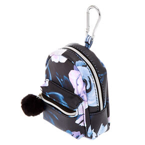 Floral Mini Backpack Keychain - Black,