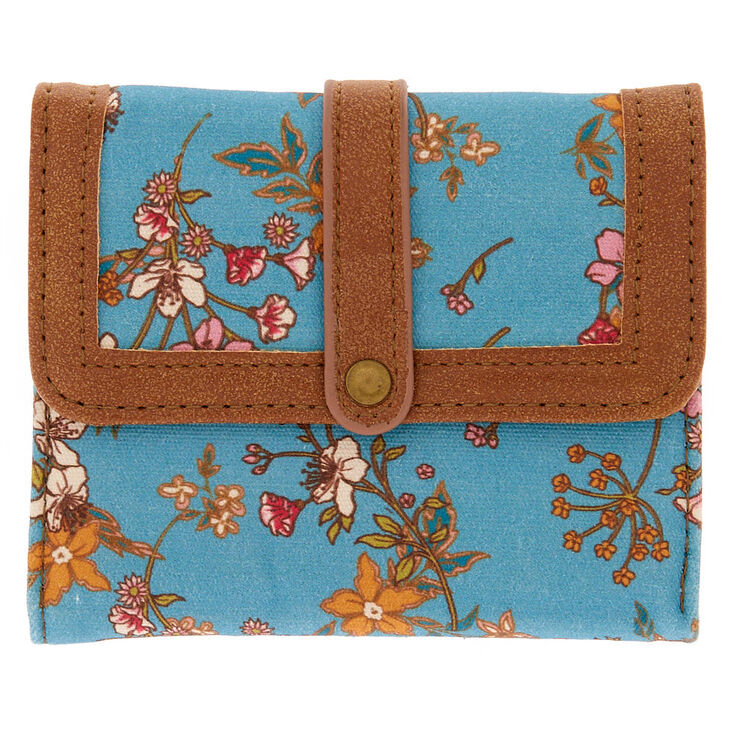 Floral Trifold Wallet - Turquoise,