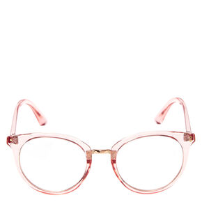 Clear Pink Round Fake Glasses,