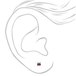 18kt Gold Plated Raccoon Stud Earrings,