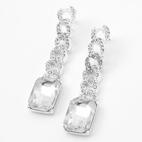 Silver Rhinestone Chain Link Drop Earrings,