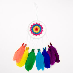 Rainbow Beaded Feather Hanging Wall Art - White,