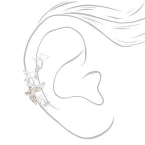 Silver Crystal Butterfly Ear Cuff Earring,