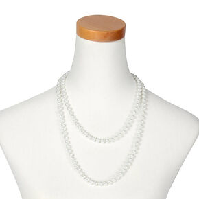 Long Faux Pearl Necklace - White,