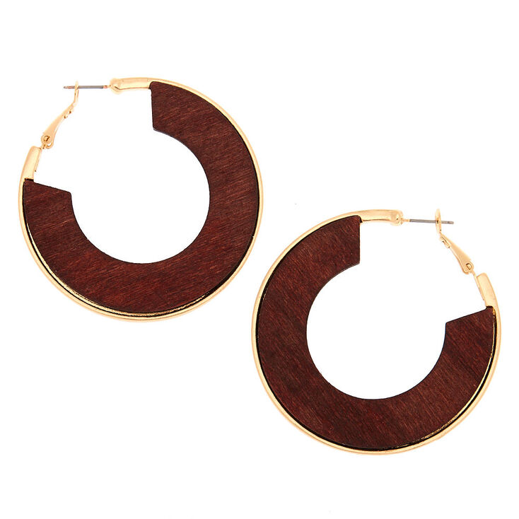 Gold 50MM Wood Hoop Earrings,