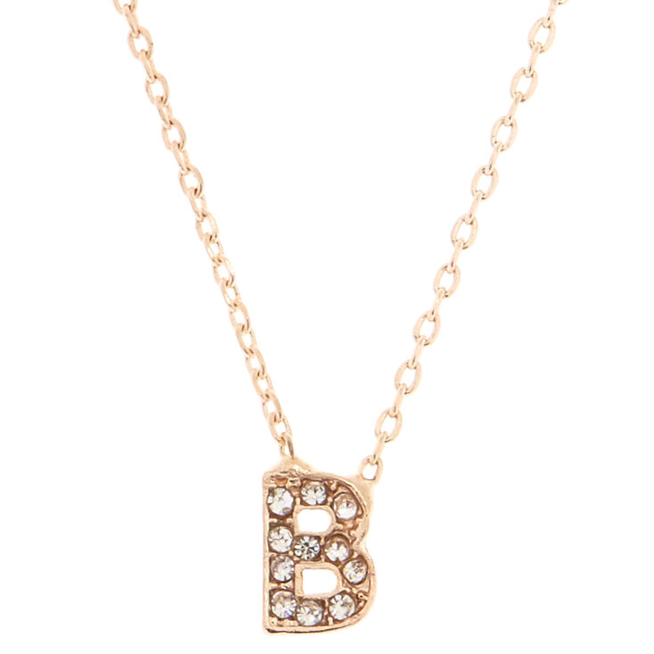 "Rose Gold Studded ""B"" Initial Necklace,"