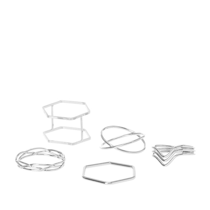 Silver Geometric Midi Ring Set,