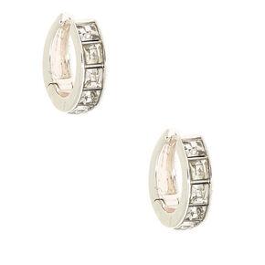 Silver 15MM Embellished Huggie Hoop Earrings,