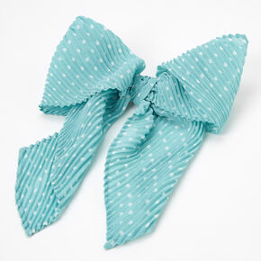 Polka Dot Pleated Hair Bow Clip - Mint,