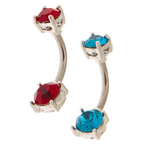 Silver Cubic Zirconia 14G Cherry Berry Belly Rings - 2 pack,