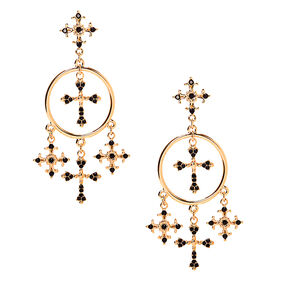 "Gold 2.5"" Cross Drop Earrings - Black,"