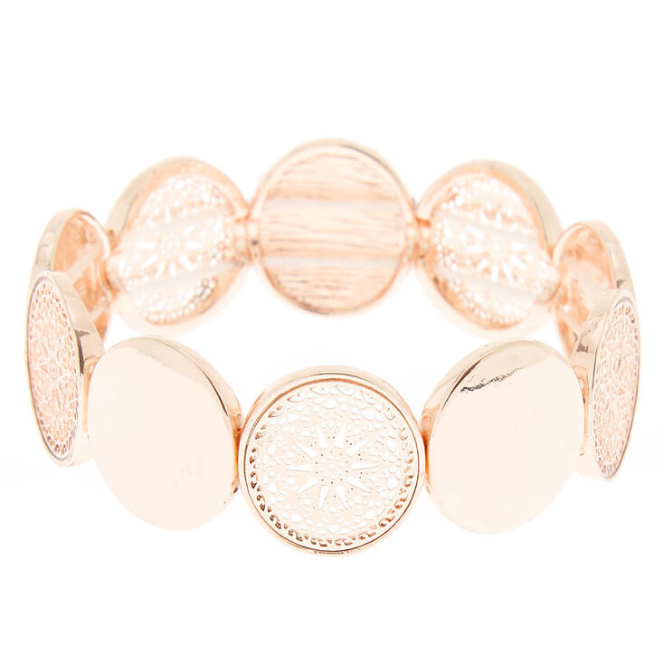 Rose Gold Filigree Disc Stretch Bracelet,