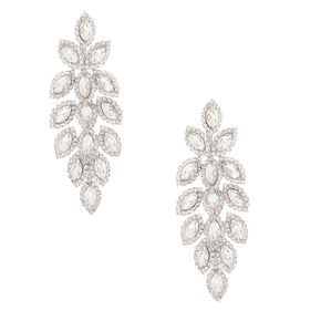 "Silver Rhinestone 3"" Leaf Chandelier Drop Earrings,"