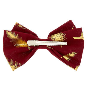 Metallic Leaf Hair Bow Clip - Burgundy,