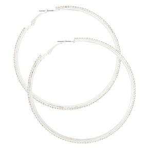 70MM Silver Rhinestone Hoop Earrings,