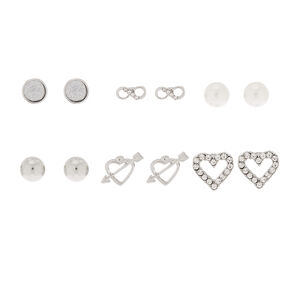 Silver Mixed Stud Earrings - 6 Pack,