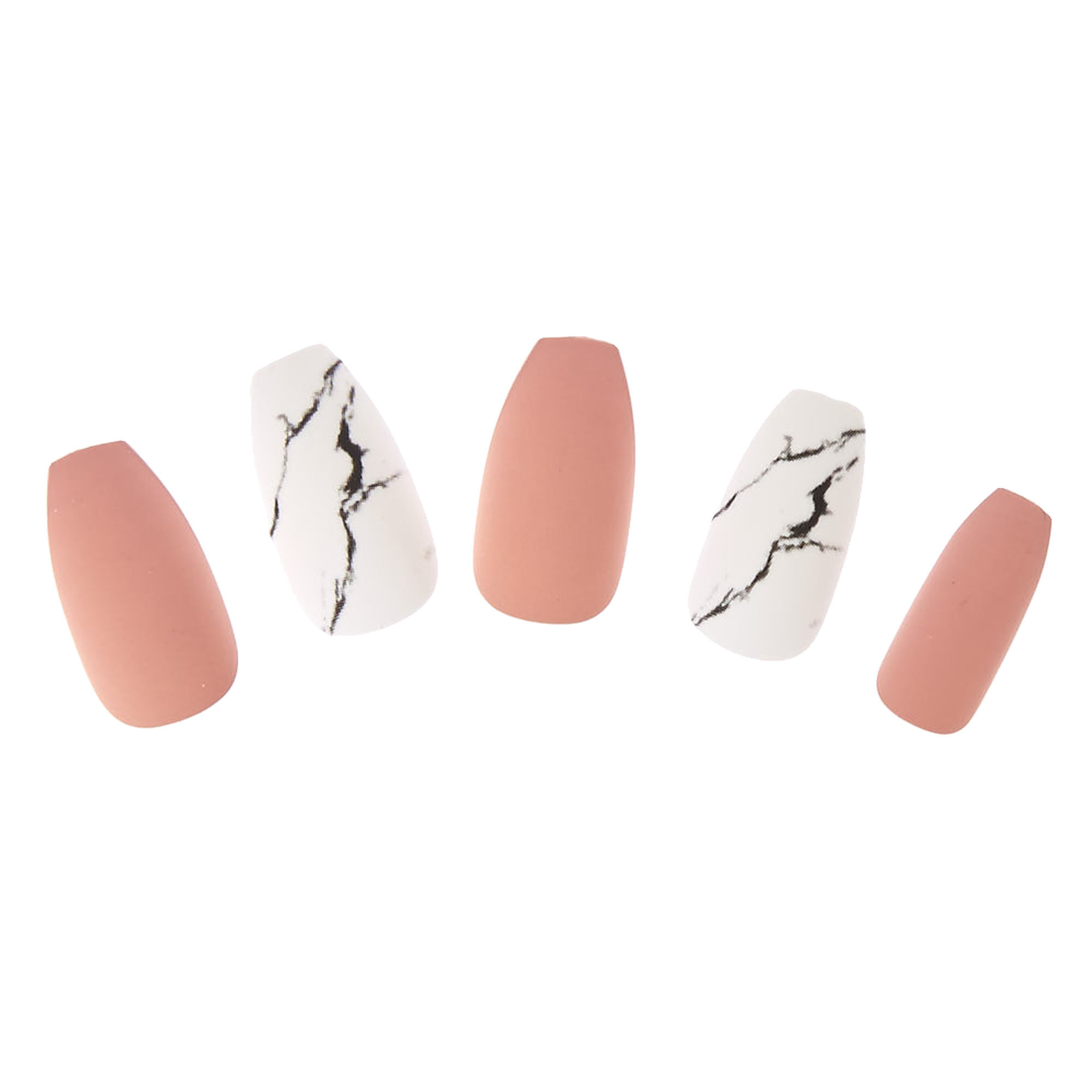 Blush & Marble Coffin Instant Nails | Icing US