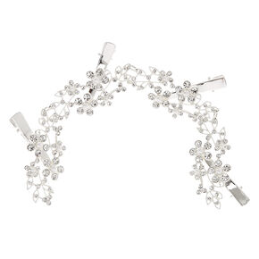 Silver- Tone Faux Crystal & Pearl Flower Decorative Hair Swag,