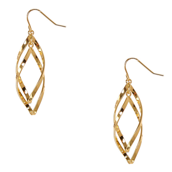 Gold Tone Mini Ribbon Curl Drop Earrings,