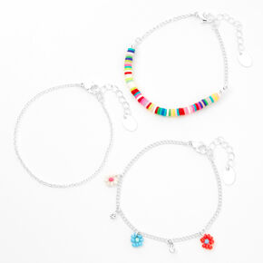 Silver Rainbow Disc & Flower Chain Bracelets - 3 Pack,